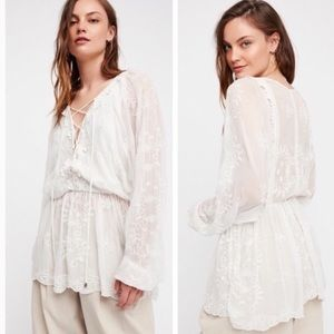 Free People Marigold white lace tunic top lace up